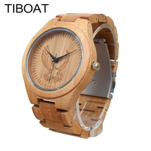 TIBOAT Original Bamboo Wooden Mens Watches Sculpture Eagle flying in the sky Creative Watch Men Fashion casual Business Clock(China)