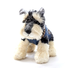 New Hot  20cm Cute Little Simulation Dressing Cowboy Schnauzer Dog Plush Stuffed Doll Kids Toy  Gift For Baby And Friends