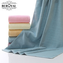 New 2017 Brand Beroyal Bath Towel -- 100% Cotton Towel Adult Solid Quick Dry Towel Thicker Towels Bathroom 70*140cm Beach Towel(China)