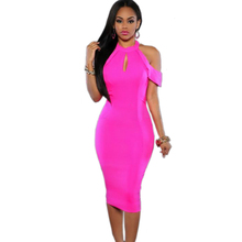 Buy Uk Women Summer Sexy Dresses 2016 Key Hole Bare Shoulder Open Back Knee Length Sheath Dress Ball Gown Abbigliamento Donna for $14.85 in AliExpress store