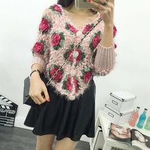 Floral Print Female Hand Knitted Cardigan Sweater Three Quarter Sleeve V-Neck Regular Women Sweater Coat