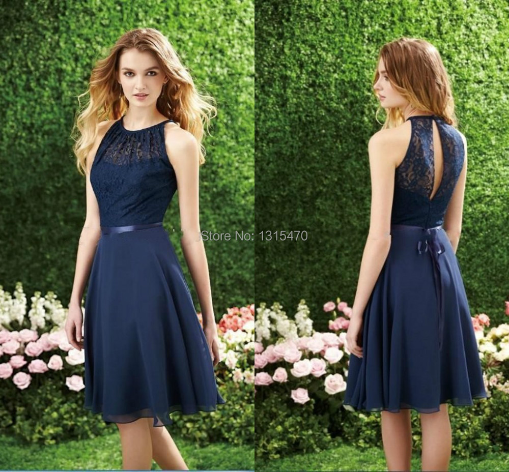 High quality wholesale mini dress prom dress under 100 from china hot sale 2016 a line above knee round neck sleeveless lace chiffon short homecoming dresses under ombrellifo Image collections