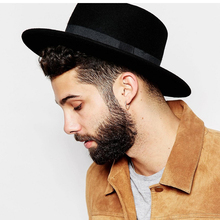 100% Wool Boater Flat Top Hat For Men's Women Winter Auturmn Felt Wide Brim Fedora Hat Gentleman Prok Pie Bowler Gambler Hat 15(China)