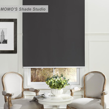 MOMO No Drill Window Curtains Solid Roller Shades Blinds Thermal Insulated Blackout Waterproof Fabric Custom Size