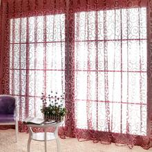 Special Pastoral Floral Tulle Voile Door Scarf Valances Drape Sheer Window Curtains Room Curtain