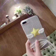 1 Pc/lot Acrylic Sparkling Wings Variety Sakura Five Pointed Star Pasted Cell Phone Case Cover For iPhone 7 6s Plus