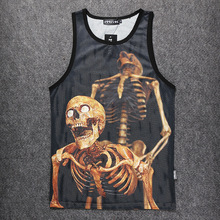 Mens Basketball Jersey Breathable 3D Printed Skull Design Throwback Basketball Jerseys T shirt Sleeveless Training Vest z30