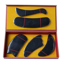 Good quality 100% Natural black ox horn comb guasha plate fish C shaped 5pcs/set face body massage 0032 - Yy stone Store store