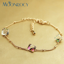 MOONROCY Free Shipping Fashion Austrian Crystal Bracelet Jewelry rose gold Color new Birthday for women  Gift
