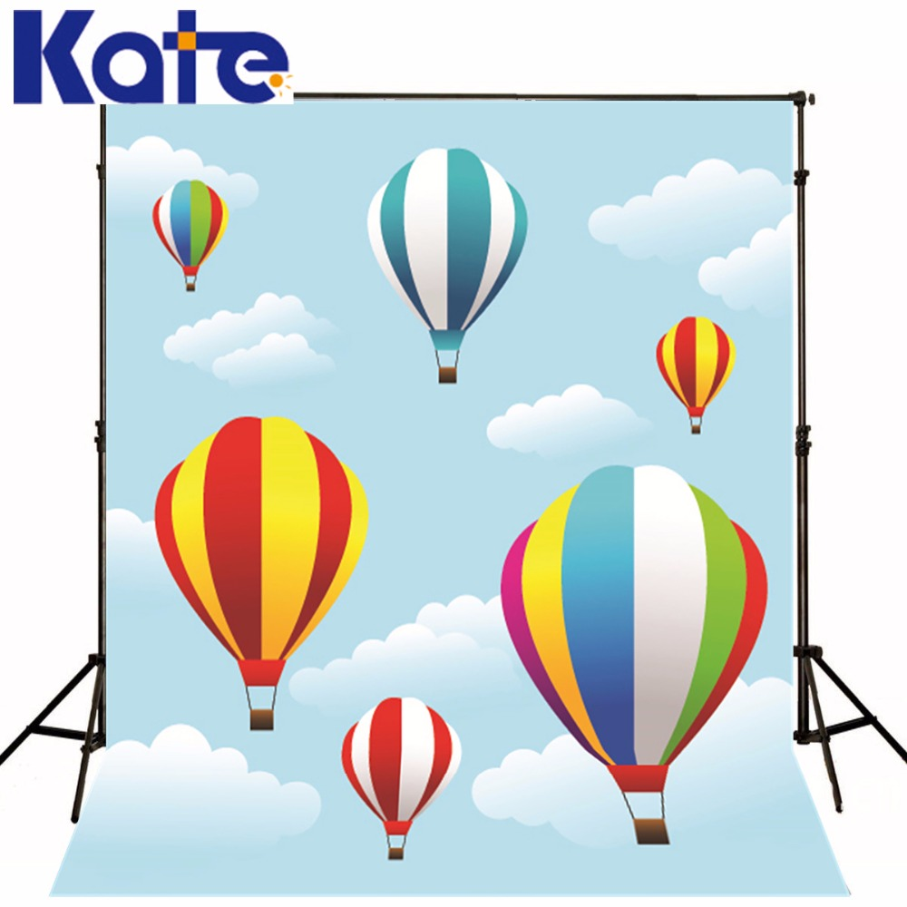 Kate Custom Made Blue Sky White Cloud Foto Background Colorful Hot Air Balloon Scenic Photography Backdrops Background<br>