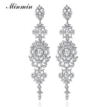 Minmin Silver Color Crystal Chandelier Wedding Long Earrings for Women  Brides Bridesmaid Christmas Gift Fashion Jewelry EH182 c0896a19102f