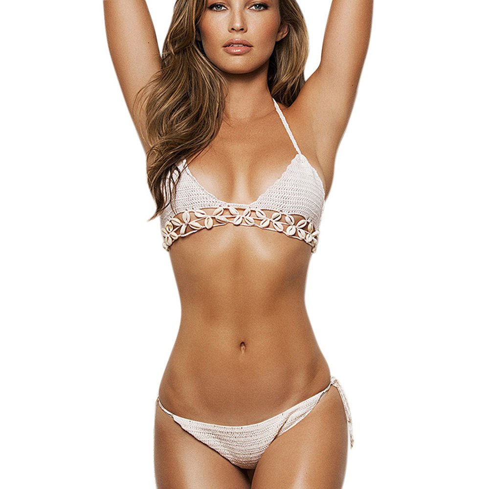 Unique Design Sexi Bikinis Women 2016 Sexy Halter Backless Women Bikini Set Shell Swimwear Spliced Knitted Bikini Set For Women<br><br>Aliexpress