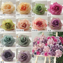 10.5cm 30pcs Artificial Oil Painting Rose Head for Wedding Party Car Decoration Flower Wall Ball DIY Accessories(China)