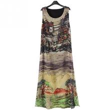 2017 summer Women Loose Vest Maxi Dress Chinese Style Retro print sleeveless Long Halter Dress