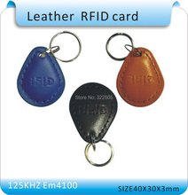 100pcs leather  Hotel Keyfob EM4100 RFID 125 KHz leather ID Card for Access Control ID smart car Keys