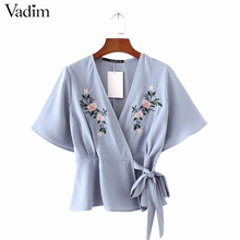 Women sweet flower embroidery cross V neck shirts sashes short sleeve blouse ladies streetwear brand tops blusas DT912
