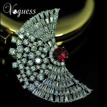 VOGUESS Luxury Jewelry New Rhinestones Red Cz Wings Brooches Pins For Women Excellent Wedding Dress Jewelry Accessories