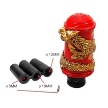1.5cm Dia Caliber Dragon Pattern Grip Shift Knob Manual Automatic Car Truck Shifter Gear Handle Metal Red Gold Tone