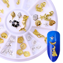 1 Box Seashell Starfish Mermaid 3D Nail Decorations Ocean Nail Art Studs Nail Charms Accessories in Wheel # 21578(China)