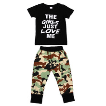2pcs Baby Boys Clothes Set 2017 New Letter Printed Short Sleeve T-Shirt+Camouflage Long Pant 2pcs Summer Outfits Set For 1-4Y(China)