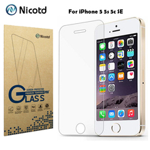 Nicotd 2.5D Coated Clear Tempered Glass For iPhone 5 5s 5c SE Phone Explosion Proof Toughened Protective Screen Protector Film