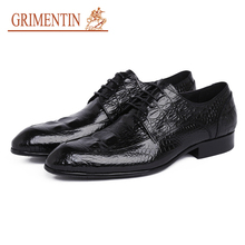 GRIMENTIN Top Quality Leather Men Dress Shoes Genuine Leather Male Shoes 2018 Luxury Men Business Shoes For Man Office SH82(China)