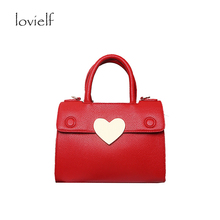 Women Special fashion Design Wedding Party Red Love Heart clemence Quality PU Shoulder bags Sequined Cross body Bag Gift