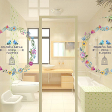 Colorful Dream Spring Flower Indian wall stickers TV Background Sofa decor Flying Birds Butterfly wall decal 3d Garden Decor(China)