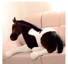 big plush simulation horse toy stuffed big dark brown &white horse doll gift about 120cm(China)