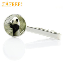 TAFREE 2017 handmade lovely fat panda tie clips cute animal photo charms men dress accessories tie pins party gifts jewelry E752(China)