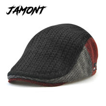 [JAMONT] New Unisex Autumn Winter Beret Buckle Hat For Men Women Solid Leisure Wool Warmer Knitted Cap Casquette Boina Masculina(China)