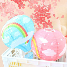 5pcs/lot 12 inch 30cm Rainbow Wedding Chinese Paper Lantern Hot Air Balloon Wedding Party Decor Lanterns Gift Craft