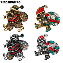 XIAOJINGLING 2017 New Arrival Christmas Brooch Antique Santa Claus With Gift Bag Brooches For Women Men Vintage Crystal Ornament(China)