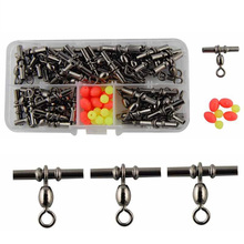 50pcs Cross Line Crane Fishing Swivel Brass Tube Cross-line Crane Swivels Connector With Solid Ring Set With Box Size 1/0