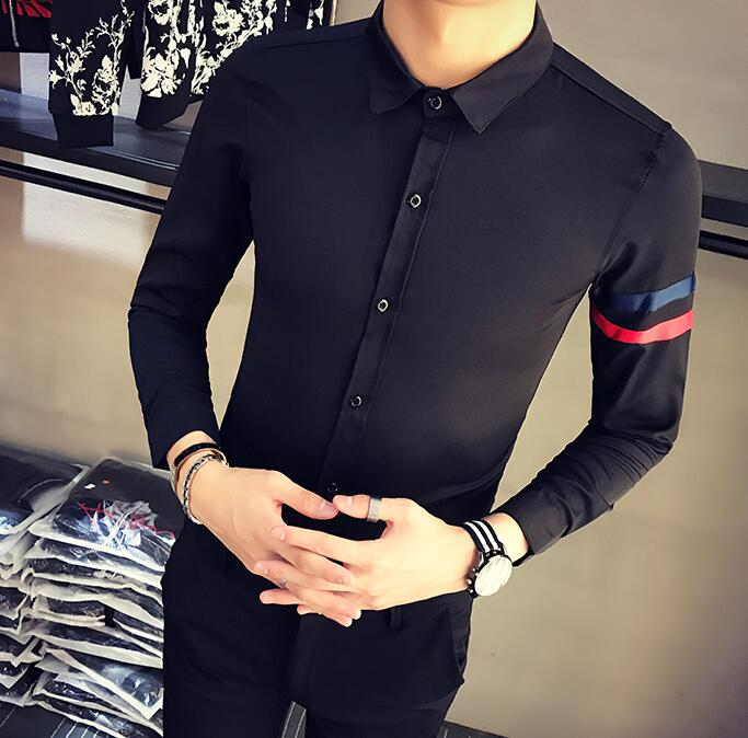 S--5XL HOT 2019 Summer Men's New Personalized embroidery long-sleeved shirt Slim fashion shirt