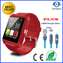 best selling Bluetooth smartwatch U8 smart watch with 2 in 1 usb gift  for iphone Samsung smartPhone good as dz09 gt08 a9 s29