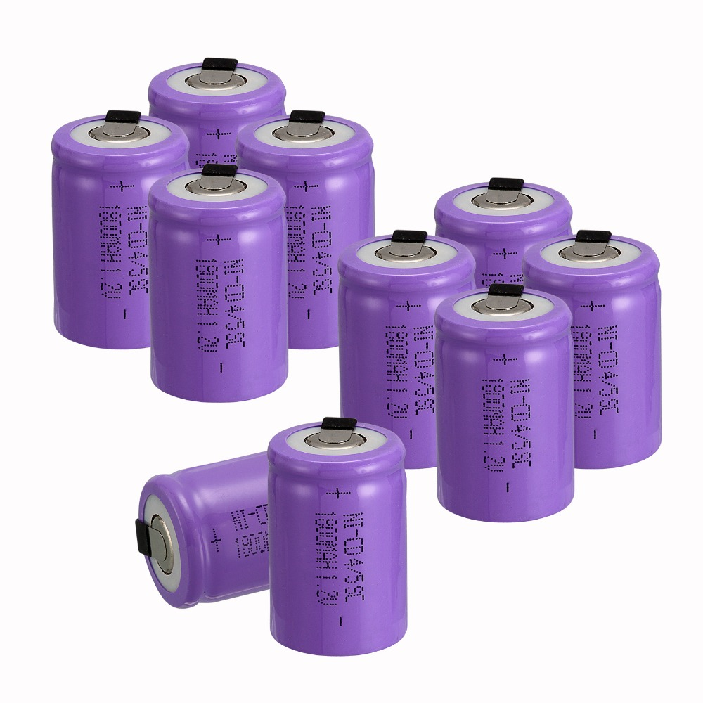 New arrival Purple color 10 PCS 4/5 SubC 4/5 Sub C battery Rechargeable Battery Ni-Cd with Tab 1.2V 1800 mAh  3.3*2.2CM<br><br>Aliexpress