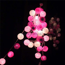 NEW 5M 35 LED Cotton Ball LED String Lighting Holiday Christmas Wedding Party Curtain Decoration Lights Drop Warm White Light