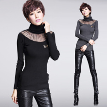 2015 new womens autumn and winter in Europe and America sexy mesh sweater knit long-sleeved high-necked sweater hedging