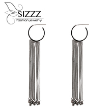 SIZZZ 13.5CM High/3CM Wide European And American Style Earrings Metal Chain Tassel Drop Earrings For Women(China)