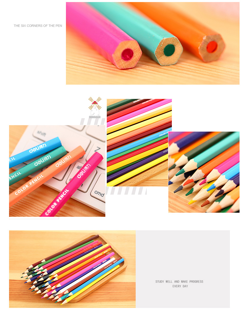 Deli 36 colors Stationery High quality Colored Pencil Drawing Painting Candy Colors Pencils For School Non-toxic For student 4