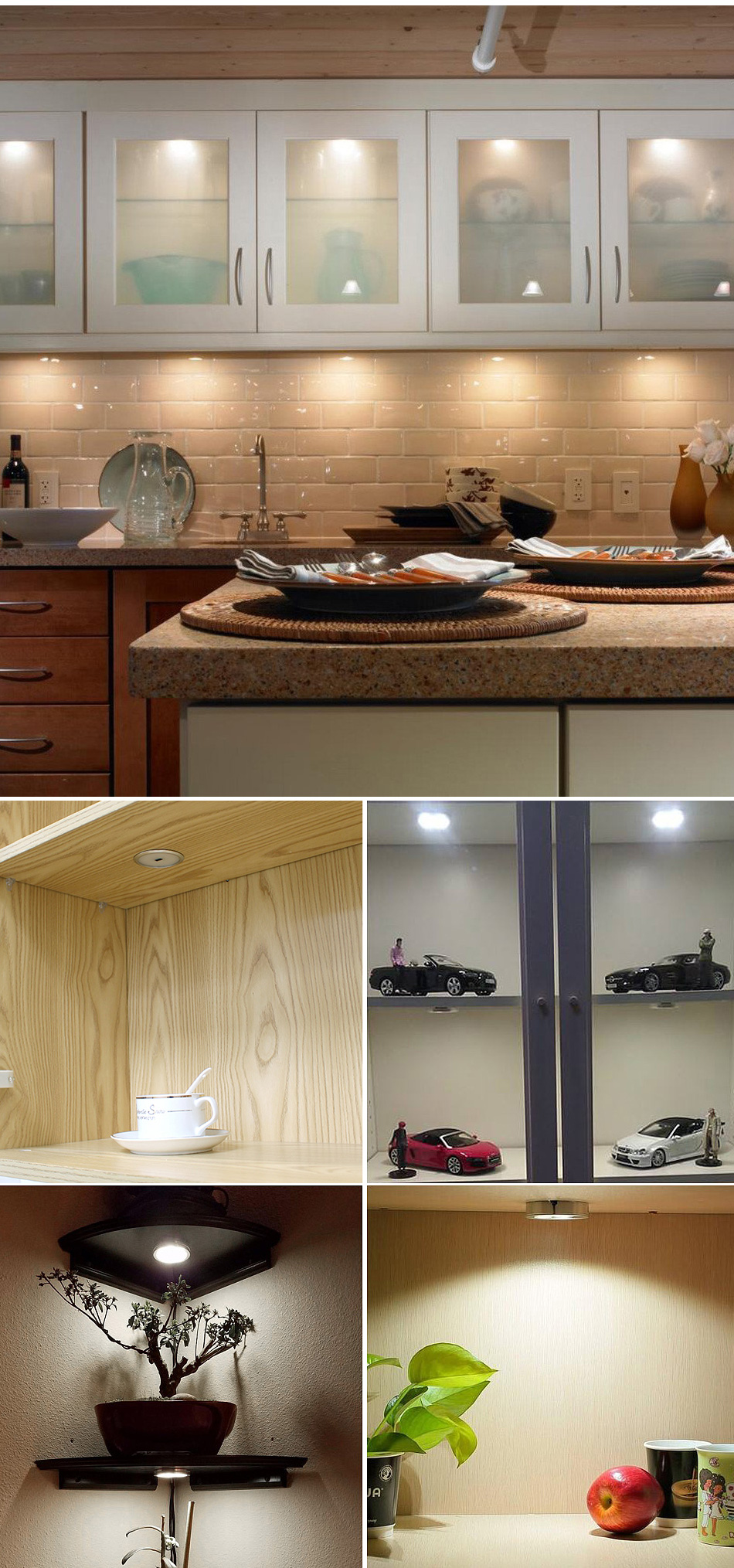 Under Cabinet Lights Puck Light 12V Round Aluminum Shelf Kitchen Closet Lamps LED Closet Lighting Night Showcase Counter Lamp (13)