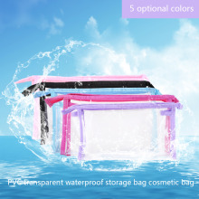 5 Color Transparent Plastic Travel Cosmetic Make Up Toiletry Bag Zipper 23*6*13cm