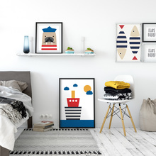 Modern Nordic Sailor Animals Cute Cartoon Seals Bear Fish Boat A4 Print Canvas Art Wall Poster Picture Child Bedroom Decorative(China)