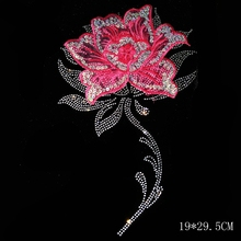 10pcs/Lot Wholesale NEW  FLOWER 022#   Rhinestone Diamante Transfer Iron On Hotfix  Gem Crystal  Motif Patch  Bling