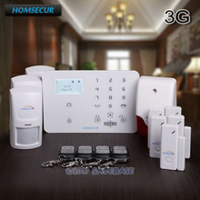 HOMSECUR Wireless&wired WCDMA-3G/GSM LCD Burglar Alarm System +PIR+5*Door Sensor(China)