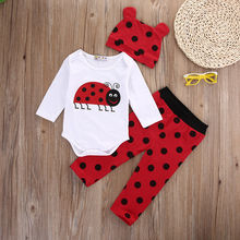2017 Hot Cute Baby Boy Girl Clothes Newborn Long Sleeve Cotton Animal Bodysuit Romper Pant Hat 3pcs Outfit Infant  Clothing Set