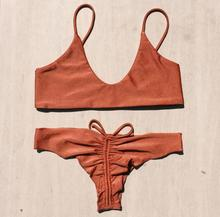 2017 Sexy Women Sling Backless Bikini Sets Beach Low Waist Triangle Swimsuit Lace Up Slim Bathing Suits Summer Orange Swimwear