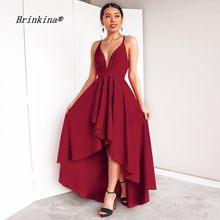 BrinKina Summer Sexy Spaghetti Strap Women Dress A Line Formal Party Dresses  Short Front Long Back Wine Red Vestidos Branco 2018 6de168947286