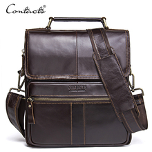 CONTACT'S Casual Genuine Leather Men Messenger Bags Zipper Pocket High Quality Shoulder Bag Male Soft Crossbody Bags